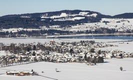 Schwangau city in winter. View from Neuschwanstein Castle view platform Stock Images
