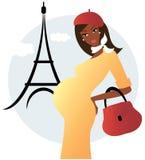 Schwangere Afroamerikanerfrau in Paris Lizenzfreies Stockfoto