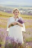Schwangere Frau auf einem Lavendelgebiet Lizenzfreies Stockbild