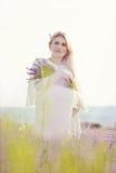 Schwangere Frau auf einem Lavendelgebiet Lizenzfreie Stockbilder