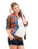 Schwangere Frau auf Weiß Stockfotos
