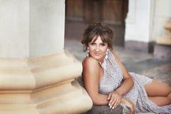 Schwangere Frau Bbeautiful in Griechenland Lizenzfreie Stockbilder
