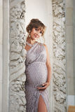 Schwangere Frau Bbeautiful in Griechenland Lizenzfreies Stockbild