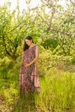 Schwangere Frau der Junge in blühendem Garten Stockfotografie