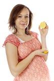 Schwangere Frau der Schönheit stockfotos