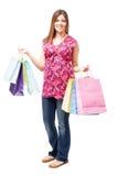 Schwangere Frau, die etwas Einkaufen tut lizenzfreie stockfotos