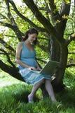 Schwangere Frau, die Laptop im Holz verwendet Lizenzfreies Stockbild