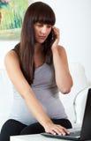Schwangere Frau, die um Handy ersucht Lizenzfreies Stockbild