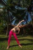 Schwangere Frau, die Yoga tut Stockbilder