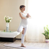 Schwangere Frau, die zu Hause Vrksasana-Yogahaltung tut Stockbilder
