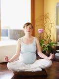 Schwangere Frau, die zu Hause Yoga tut Lizenzfreie Stockfotos