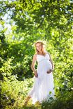Schwangere Frau im grünen Wald Stockfoto