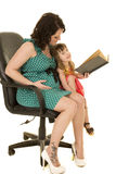 Schwangere Frau im grünen Kleid las zum Kind Lizenzfreie Stockbilder