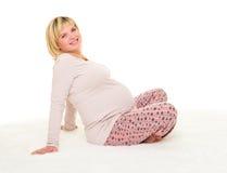 Schwangere Frau lokalisiert lizenzfreie stockbilder