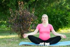 Schwangere Frau meditieren im Freien, Naturlandschaft lizenzfreie stockbilder
