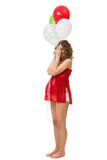 Schwangere Frau mit Ballonen lizenzfreies stockfoto