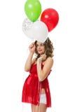 Schwangere Frau mit Ballonen stockfotos