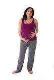 Schwangere Frau mit den Bauchschmerz Lizenzfreie Stockfotografie