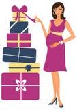 Schwangere Frau mit Geschenken Stockfotografie
