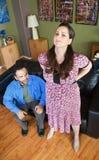 Schwangere Frau mit Rückenschmerzen Stockbild