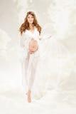 Schwangere Frau. Schöne Schwangerschaft: langes gelocktes Haar und Chiffon- Stockfotos