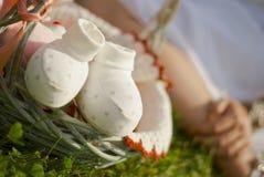 Schwangere Frau sitzt auf dem Gras Stockfotos