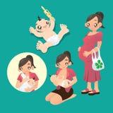 Schwangere Frau und eine Mutter stillen ihr Baby Stockfotografie