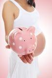 Schwangere Frau und Piggy Querneigung lizenzfreies stockbild