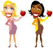 Schwangere Frauen, die Äpfel anhalten Lizenzfreies Stockbild