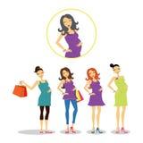 Schwangere Frauen eingestellt Lizenzfreie Stockbilder