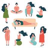 Schwangere Frauen-Lebensstil-Satz, glückliche Brunette Mutter in der Schwangerschaft, die Übungen, Sitzen, Schlafenvektor-Illustr lizenzfreie abbildung