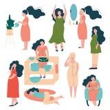 Schwangere Frauen-Lebensstil-Satz, glückliche Brunette Mutter in der Schwangerschaft, die für, Ablesen-Buch, kochend sich interes vektor abbildung
