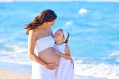 Schwangere Mutter und Tochter auf dem Strand Lizenzfreies Stockfoto