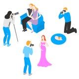 Schwangere Paare isometrischer Fotograf-Shooting, Frau ein Baby fotographie stock abbildung