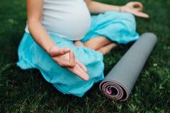 Schwangere Yogafrau im Lotussitz mit Mattenporträt im Park auf dem Gras, Atmung, dehnend, Statik aus Lizenzfreie Stockfotos