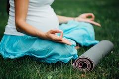 Schwangere Yogafrau im Lotussitz mit Mattenporträt im Park auf dem Gras, Atmung, dehnend, Statik aus Stockfotografie