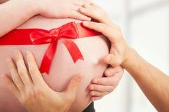 Schwangerer Bauch mit rotem Farbband und Hände der Mammas und des Vatis Lizenzfreie Stockfotografie