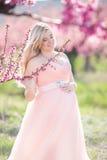 Schwangerer glücklicher Rosagarten der Frau im Frühjahr Stockfotos