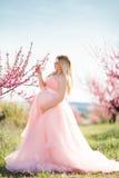 Schwangerer glücklicher Rosagarten des Mädchens im Frühjahr Lizenzfreie Stockbilder