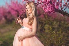 Schwangerer hübscher Blütengarten der Frau im Frühjahr Stockfotos
