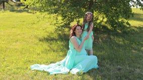 Schwangeres Mädchen mit ihrer Tochter in den Kleidern im Park stock video
