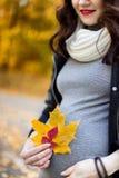 Schwangeres Mädchen unter der herbstlichen Landschaft Stockfoto