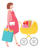 Schwangeres Shopgeschenk der Mutter glücklich stockfotos