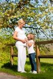 Schwangerschaft - rührender Bauch des Mädchens von der schwangeren Mutter Lizenzfreies Stockfoto