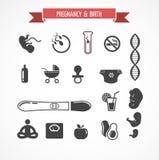Schwangerschaft und Geburt, Ikonensatz Lizenzfreie Stockfotografie