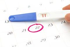 Schwangerschaftstest mit dem positiven Ergebnis, das auf Kalenderhintergrund liegt Lizenzfreie Stockbilder