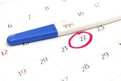 Schwangerschaftstest mit dem positiven Ergebnis, das auf Kalenderhintergrund liegt Lizenzfreie Stockfotografie