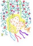 Schwankenskizze zwischen Blumenzweigen lizenzfreie abbildung