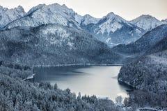 Schwansee ad orario invernale, alpi bavaresi, Germania Immagine Stock Libera da Diritti