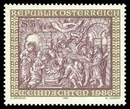 Schwantaler manger of Schlierbach Cistercian Abbey. Austria - stamp 1986: Color edition on Biblical motifs, shows Schwantaler manger of Schlierbach Cistercian Royalty Free Stock Photos
